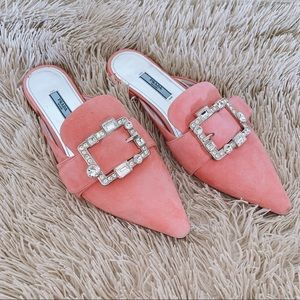 Prada Jeweled Pink Suede Pointed Loafers
